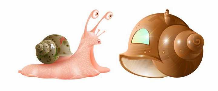 卡通蜗牛正准备换一个大一点的蜗牛壳房子png图片免抠矢量素材