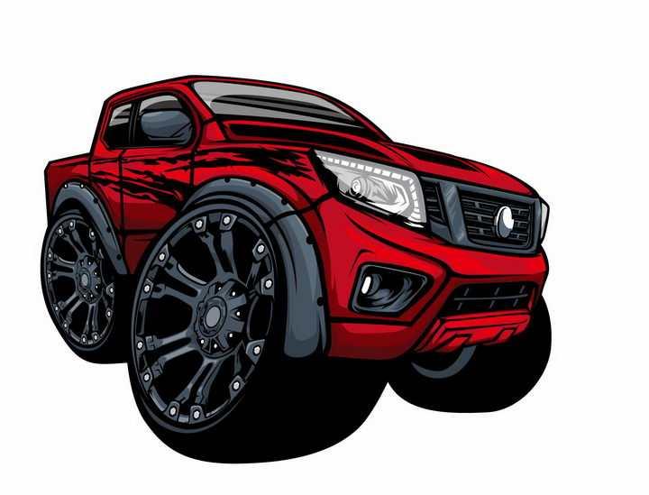 卡通漫画风格红色大脚车越野车png图片免抠矢量素材