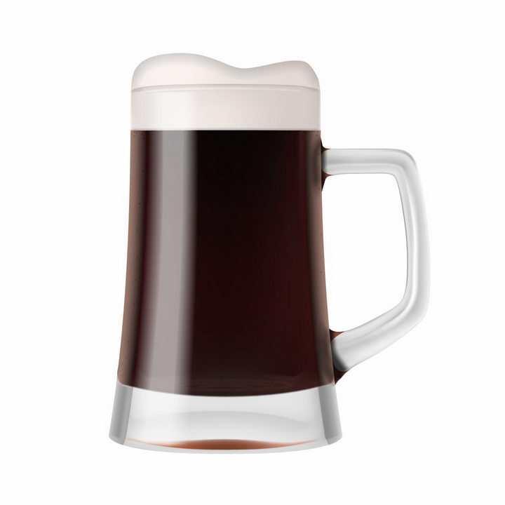 一杯深色的冒着泡沫的啤酒png图片免抠eps矢量素材