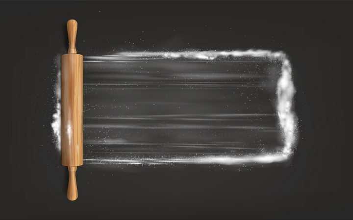 擀面杖将面粉散开美食工具png图片免抠矢量素材