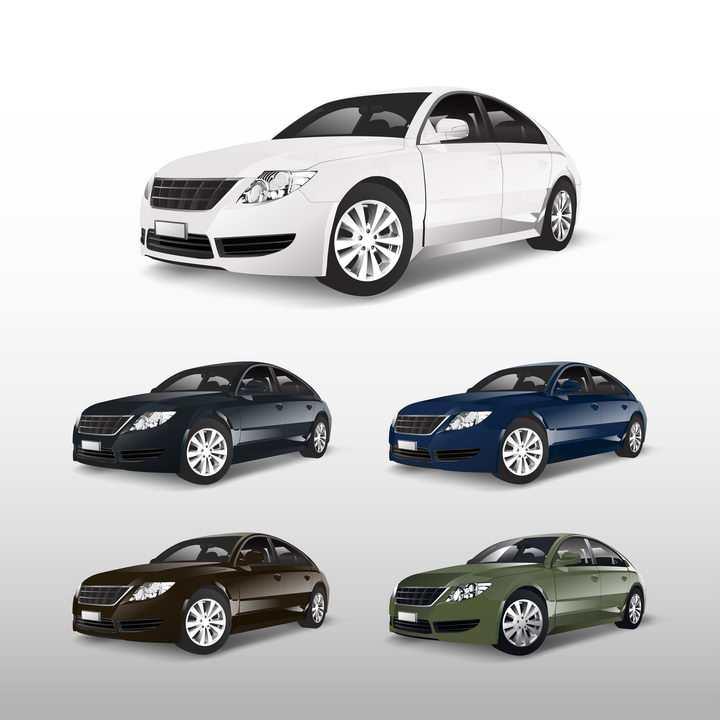 5种颜色的汽车小轿车侧前方图png图片免抠矢量素材