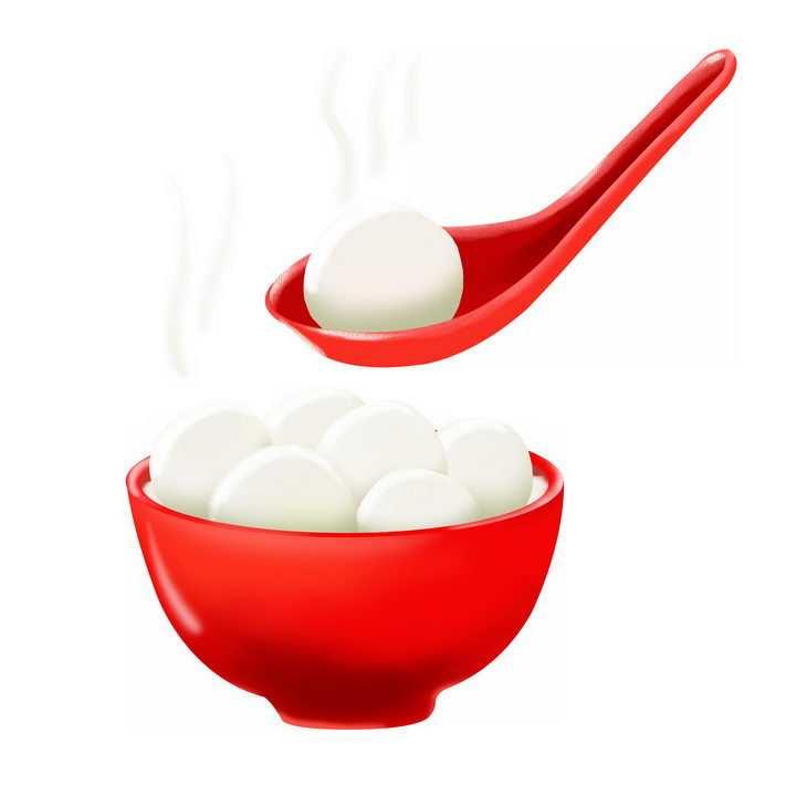 红色的碗勺子和里面的白色汤圆png图片免抠素材