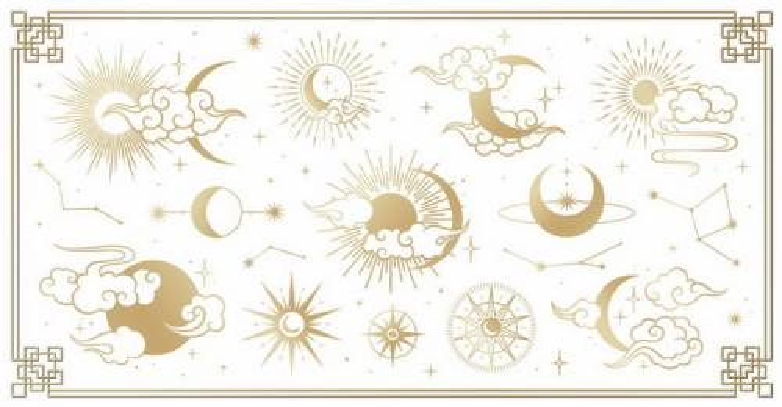 各种金色祥云太阳月亮星座图案png图片免抠矢量素材