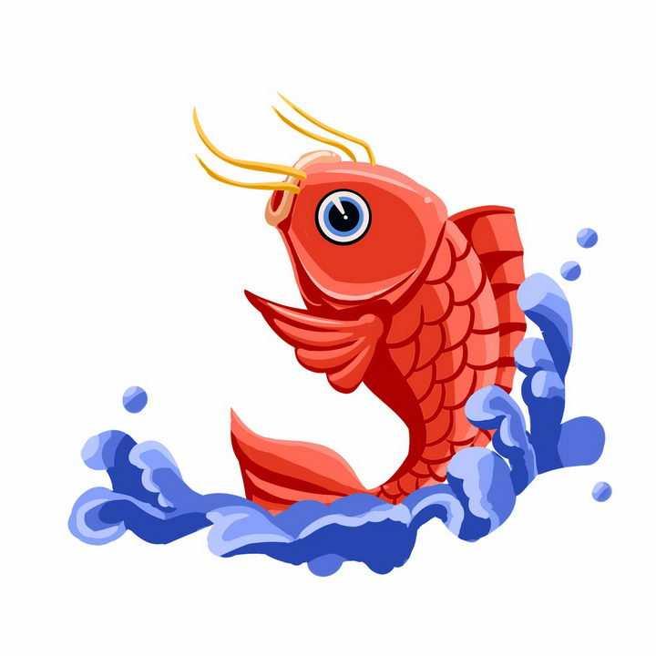 紫色海水和红色鲤鱼锦鲤png图片免抠素材