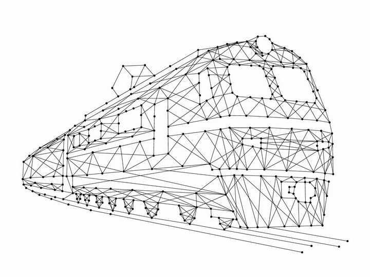 黑色点线组成的火车高铁列车png图片免抠矢量素材