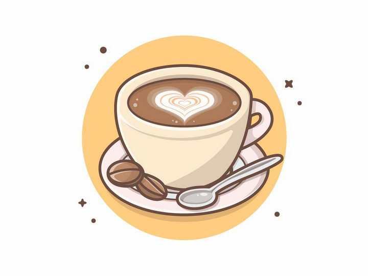 MBE风格咖啡拉花出心形符号图案的咖啡杯美味饮料png图片免抠eps矢量素材