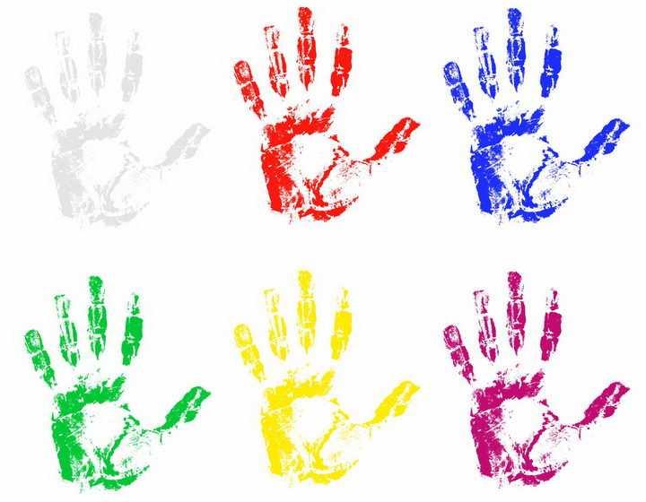 6款彩色手掌印手印图案png图片免抠eps矢量素材