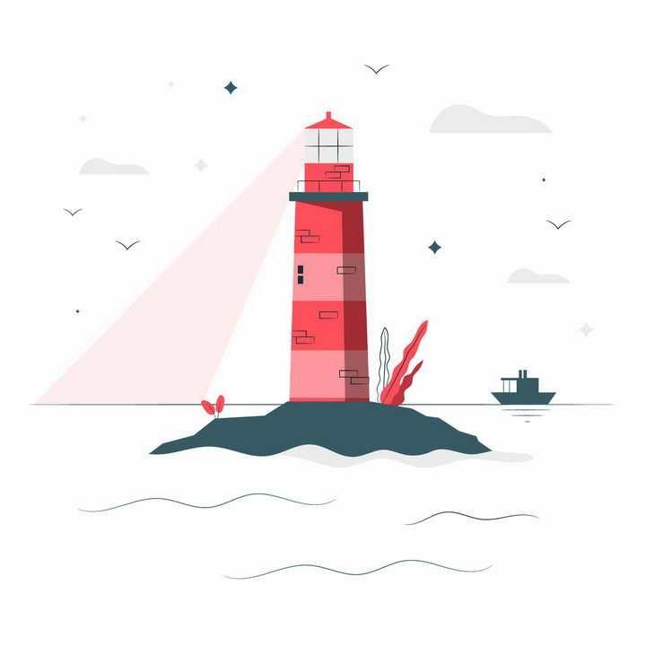 扁平插画风格灯光照射海面的红色灯塔png图片免抠矢量素材