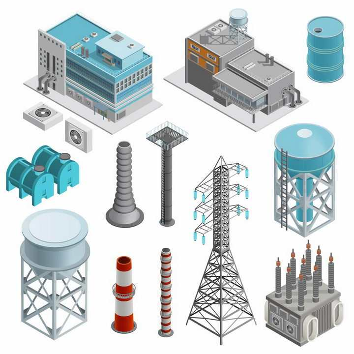2.5D风格发电厂厂房冷却塔电塔铁塔png图片免抠矢量素材