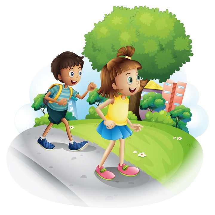 上学路上的两个卡通小朋友图片免抠矢量素材