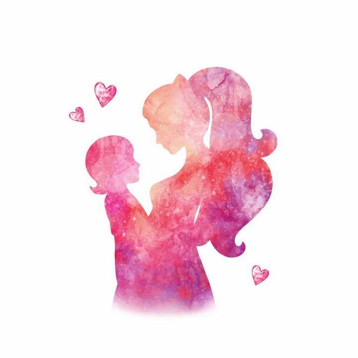 水彩画风格抱着儿子的年轻妈妈彩色剪影母亲节png图片免抠eps矢量素材
