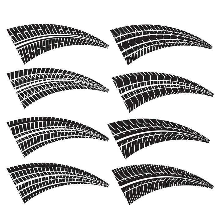8款不同花纹的弯曲汽车轮胎印车轮印png图片免抠矢量素材
