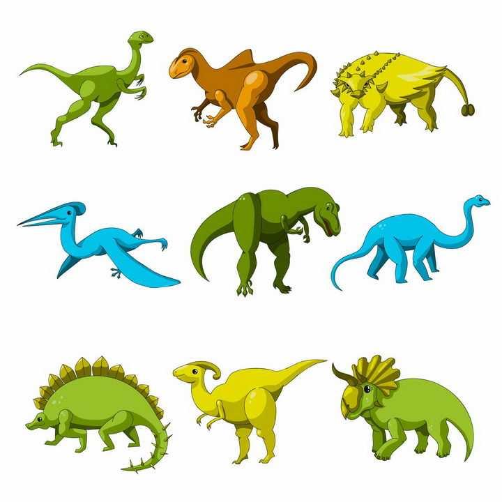 9种卡通剑龙翼龙三角龙霸王龙梁龙等恐龙远古爬行动物png图片免抠矢量素材