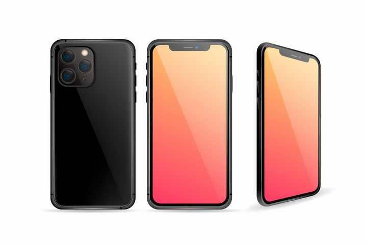 黑色苹果iPhone 11 Pro智能手机三视图png图片免抠eps矢量素材