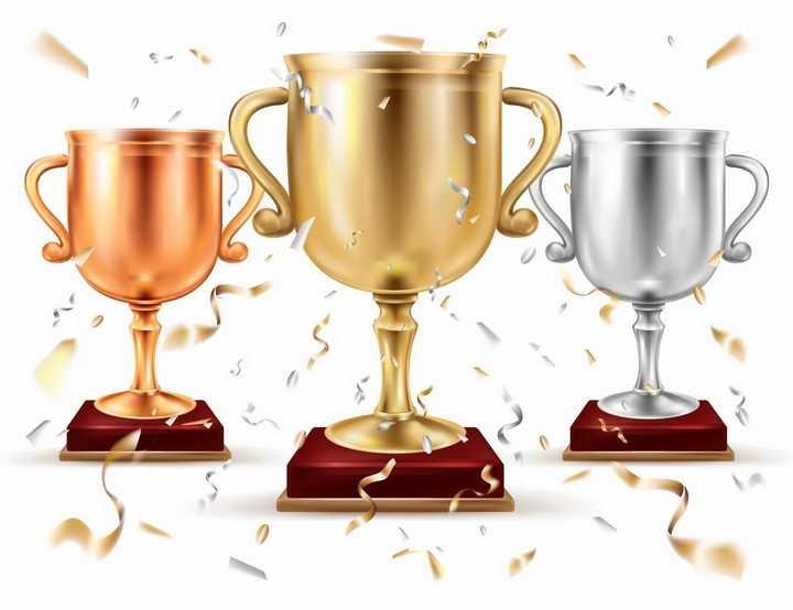 飘着金色飘带的金杯银杯铜杯奖杯图片png免抠素材