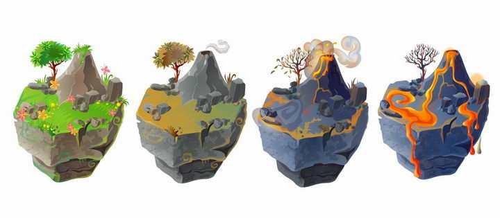 4款浮岛风格火山喷发过程图png图片免抠矢量素材
