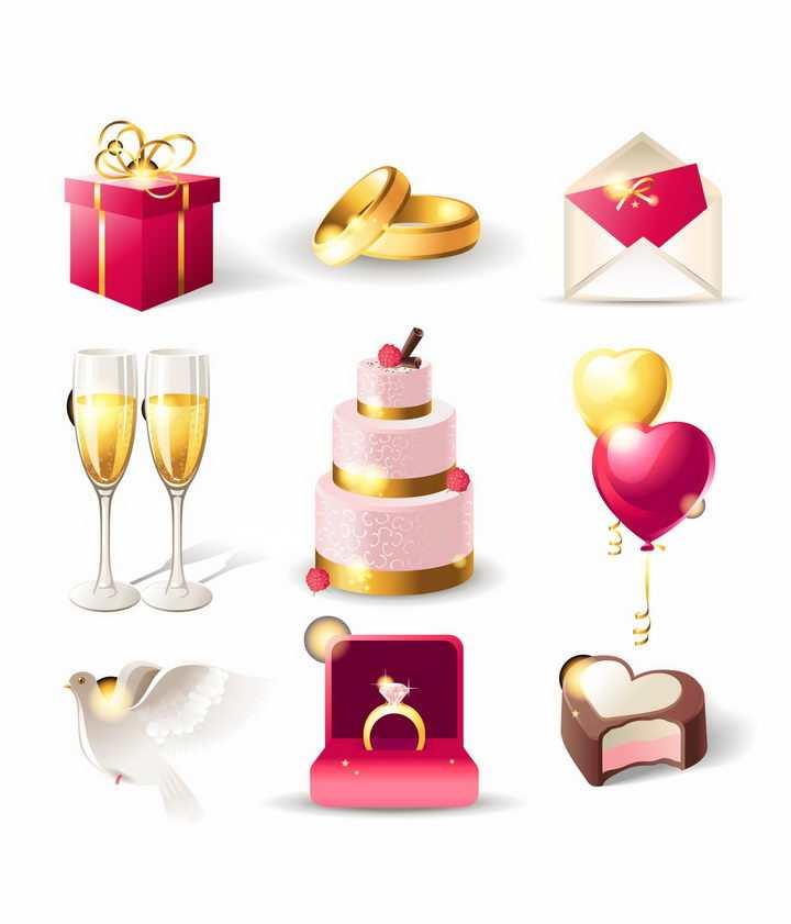 各种结婚礼物戒指请柬香槟蛋糕气球和平鸽戒指盒等婚礼用品png图片免抠矢量素材