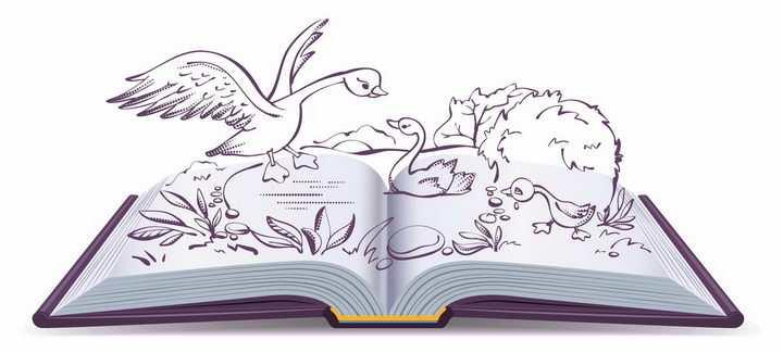 卡通动画插画简笔画风格翻开书本里小丑鸭的童话故事png图片免抠矢量素材