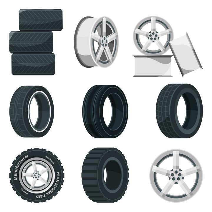各种拆开的汽车轮胎和铝合金轮毂png图片免抠矢量素材