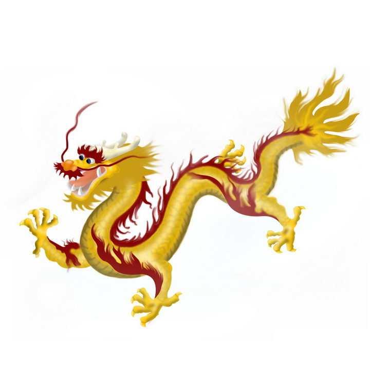 飞翔中的中国传统神兽五爪金龙png图片免抠素材