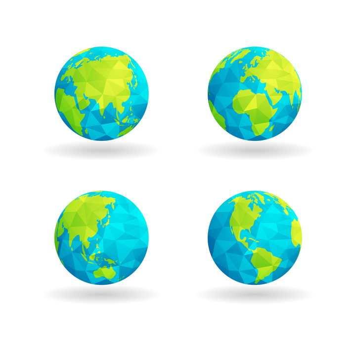 4款不同角度的多边形组成的蓝色绿色地球png图片免抠矢量素材