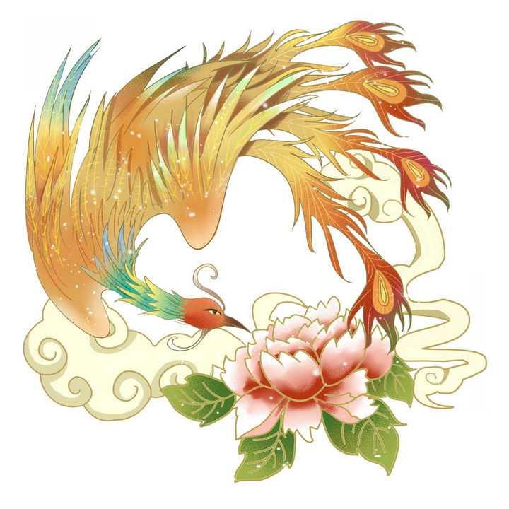 中国传统国画凤凰和牡丹花png图片免抠素材