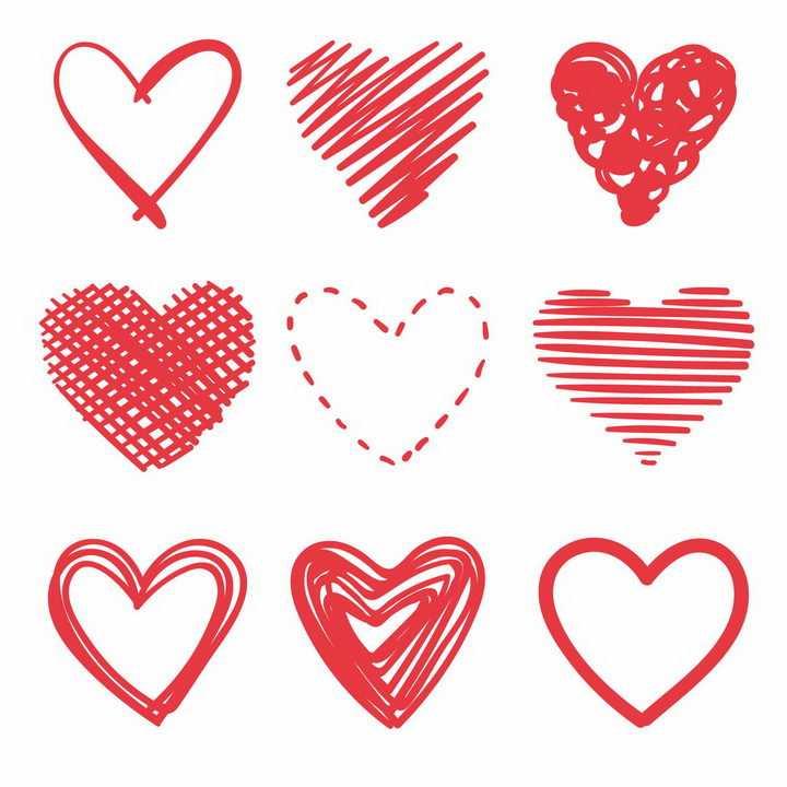 9款手绘涂鸦线条红色心形图案红心装饰png图片免抠eps矢量素材