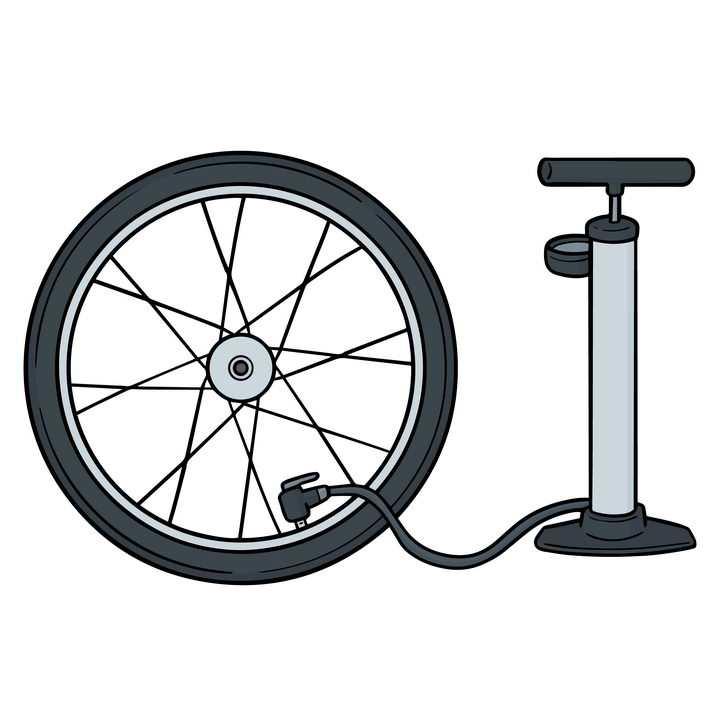打气筒正在为自行车轮胎打气png图片免抠矢量素材