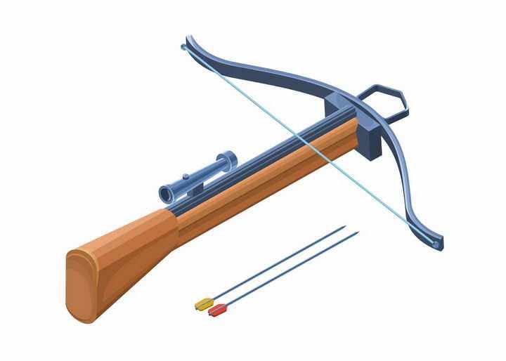 2.5D立体风格弩弓强弩弩枪冷兵器武器png图片免抠矢量素材