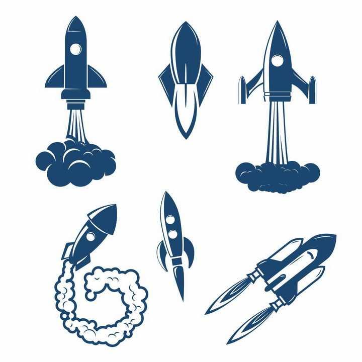 各种蓝色白色的火箭和航天飞机png图片免抠eps矢量素材