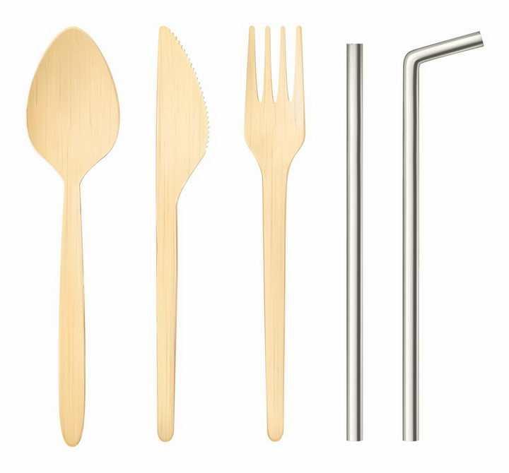 木制勺子刀叉西餐餐具和金属吸管png图片免抠矢量素材