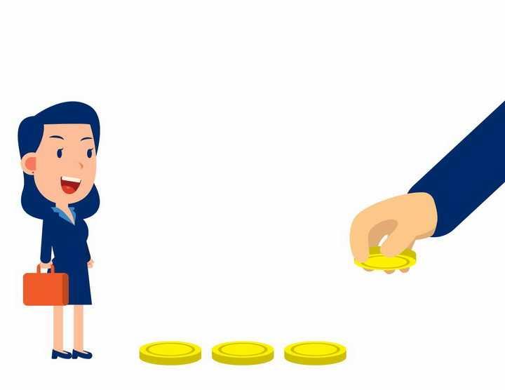 卡通商务女士被金钱吸引象征投资的风险性盲目性和短视性png图片免抠矢量素材
