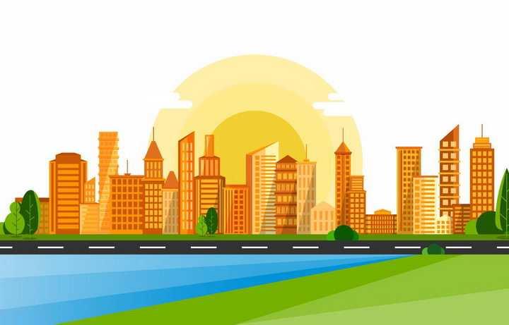 卡通风格远处的橙色城市建筑天际线和黄色的太阳夕阳png图片免抠矢量素材