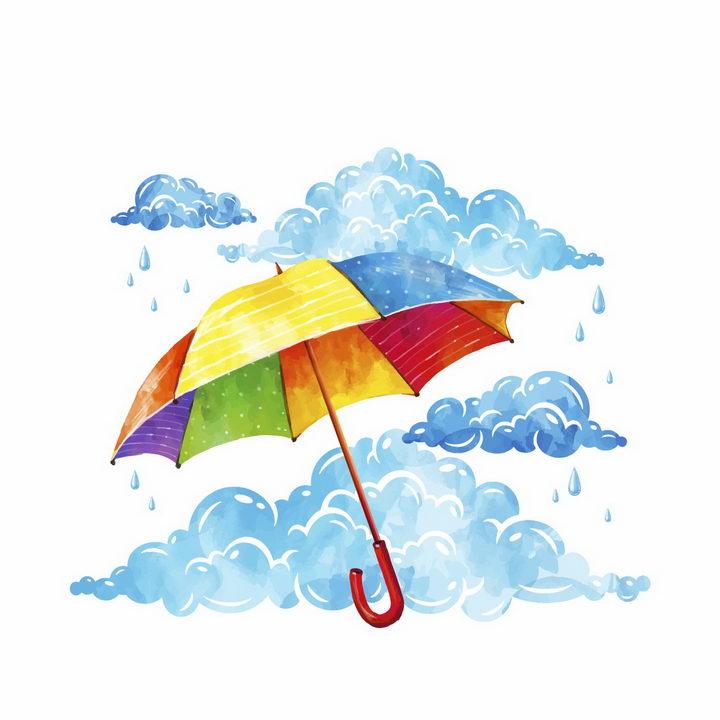 彩绘风格乌云下雨和七彩雨伞花伞png图片免抠eps矢量素材 生活素材-第1张