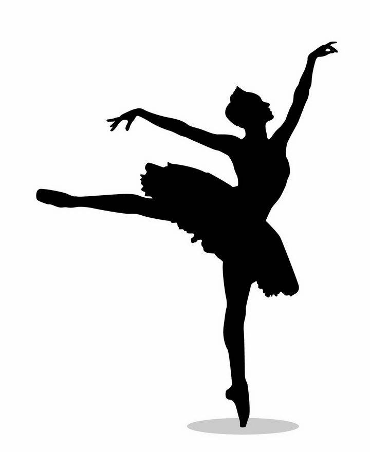 优雅的芭蕾舞者跳舞美女剪影png图片免抠矢量素材