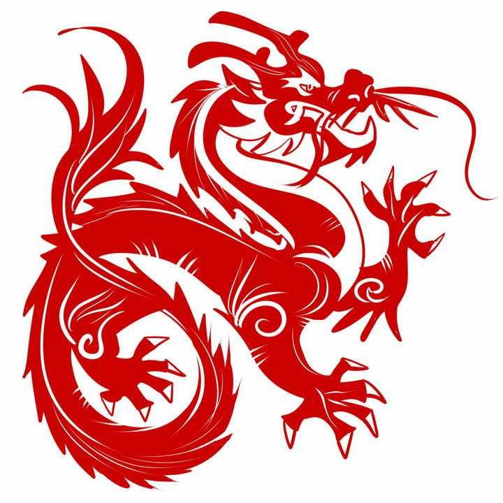 红色剪纸风格张牙舞爪的中国龙图案png图片免抠素材