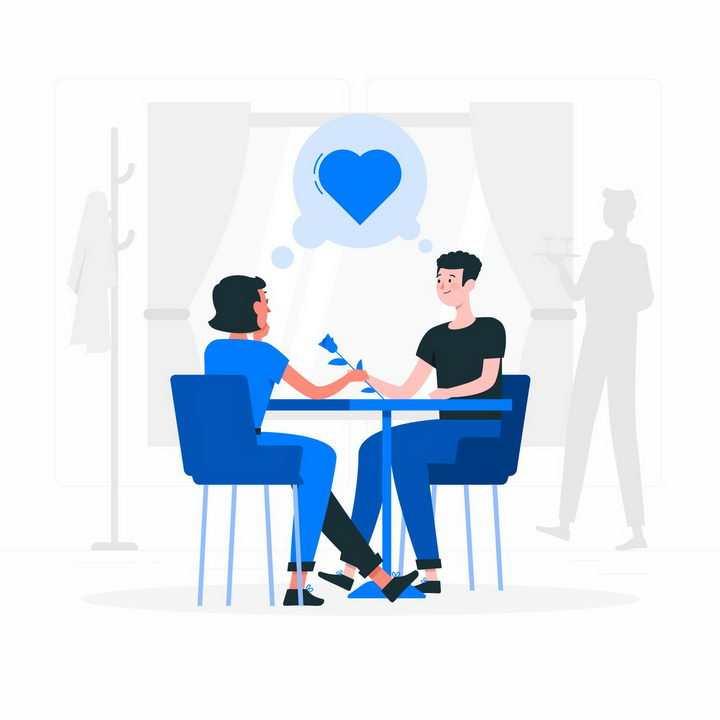 扁平插画风格在餐厅相亲谈恋爱的情侣约会png图片免抠矢量素材