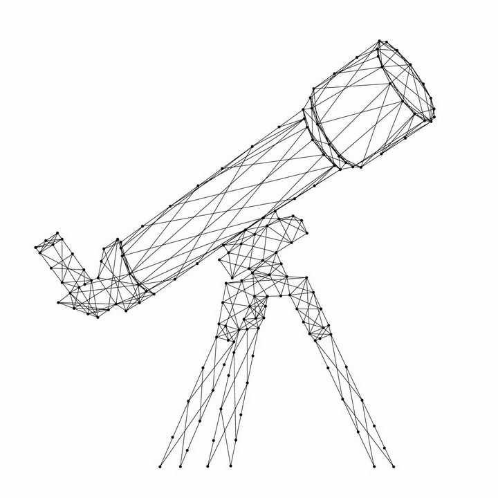 黑色的点线组成的天文望远镜图案png图片免抠矢量素材