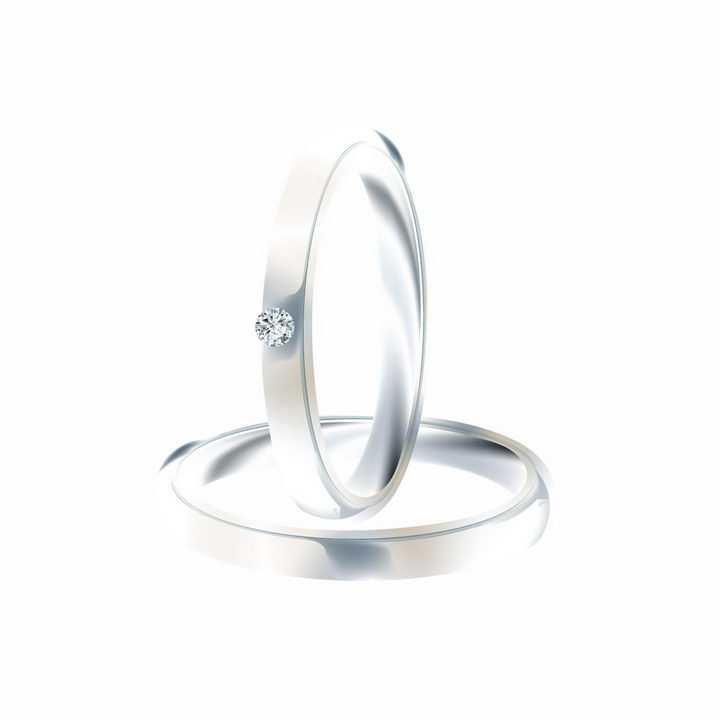 两只镶钻的铂金结婚戒指png图片免抠矢量素材