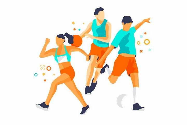 扁平插画风格跑步打篮球踢足球等体育运动png图片免抠矢量素材