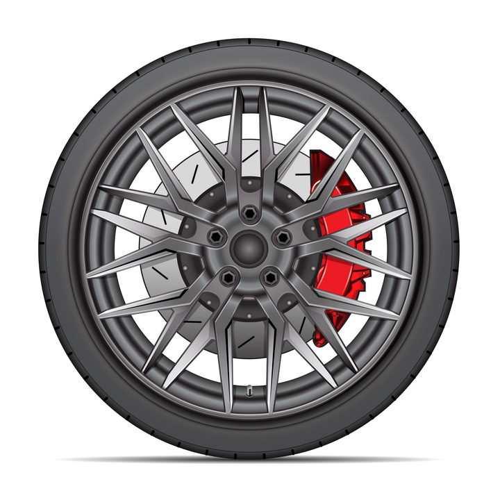 汽车轮胎和铝合金金属轮毂红色刹车卡钳png图片免抠矢量素材