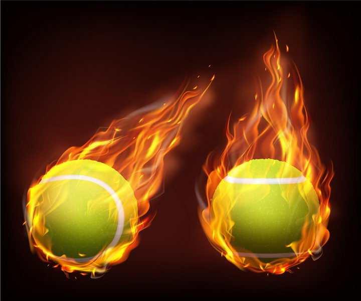 2款飞行中燃烧着火焰的网球png图片免抠矢量素材