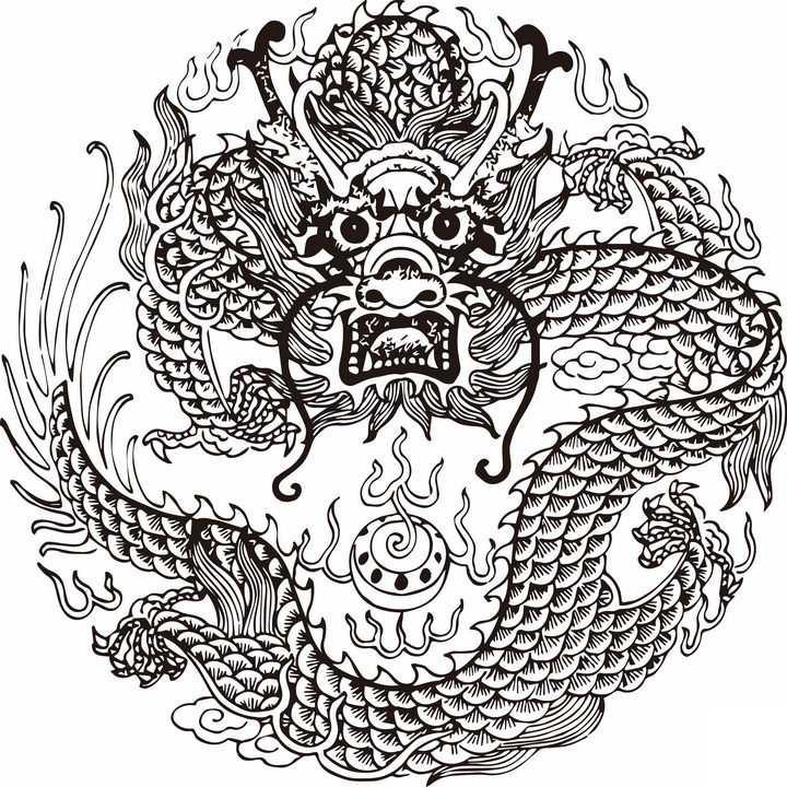 黑色传统中国龙花纹图案装饰png图片免抠素材