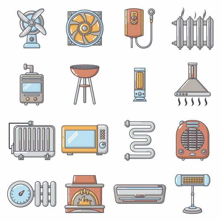 16款卡通风格电风扇散热器燃气热水器暖气片取暖器等冬天取暖设备png图片免抠矢量素材