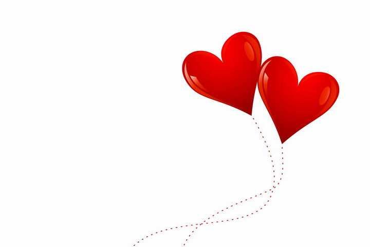 拖着虚线的两个红心心形符号图案png图片免抠eps矢量素材