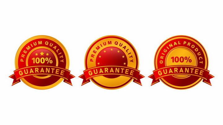 3款红色黄色质量保证徽章png图片免抠矢量素材 电商元素-第1张