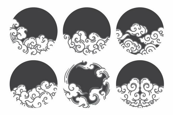 6款圆形黑色背景祥云波浪图案png图片免抠eps矢量素材 装饰素材-第1张