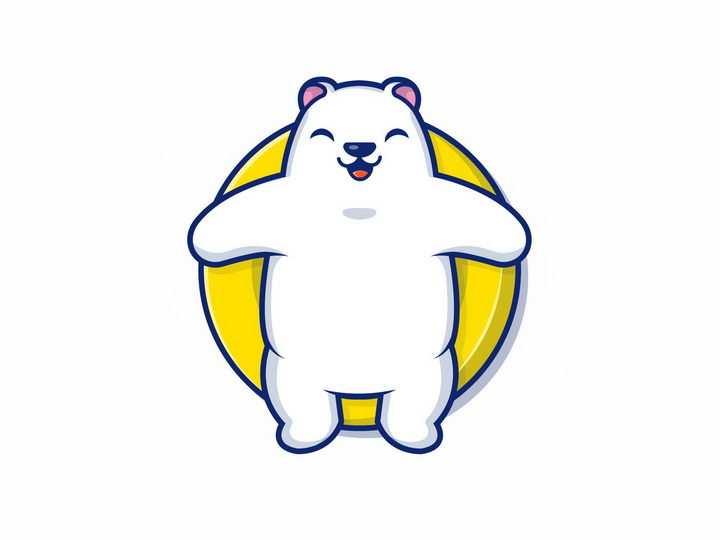 躺在游泳圈上的卡通北极熊png图片免抠矢量素材