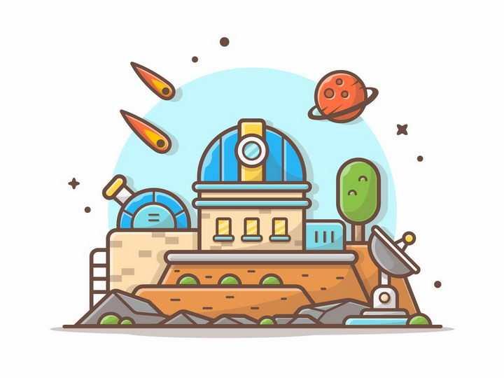 MBE风格卡通天文台和陨石星球png图片免抠矢量素材