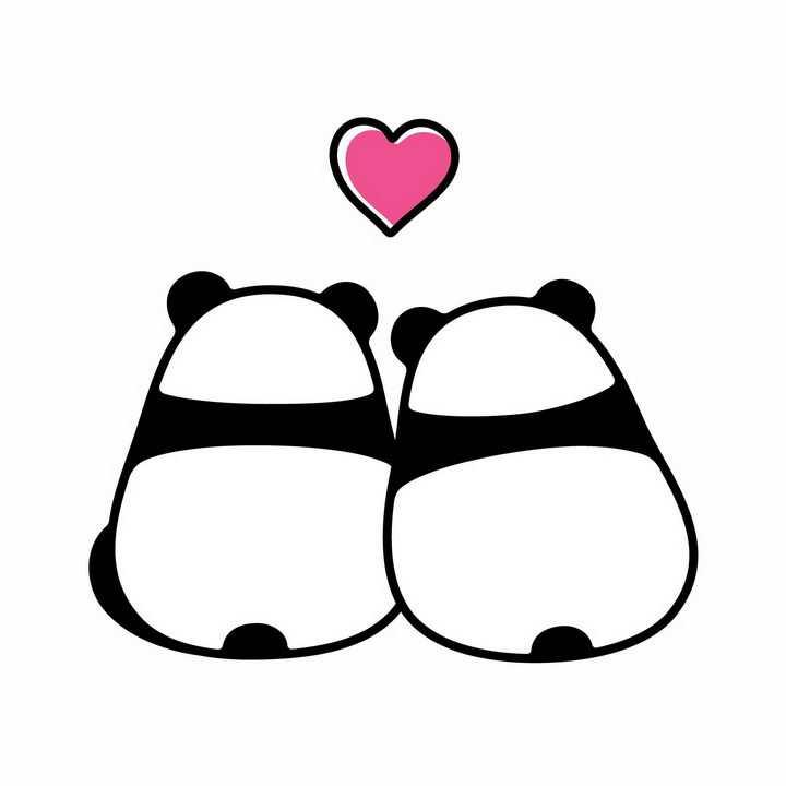 靠在一起的两只熊猫情侣情人节png图片免抠eps矢量素材